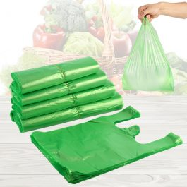Green Plastic Shopping Vest Poly Bags