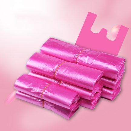 Pink Plastic Carry Out Shopping Vest Poly Bags