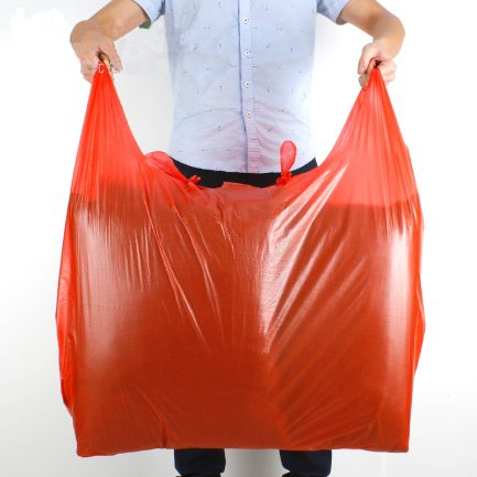 Red Big Vest Style Large Plastic Bags Carrier Poly Bags