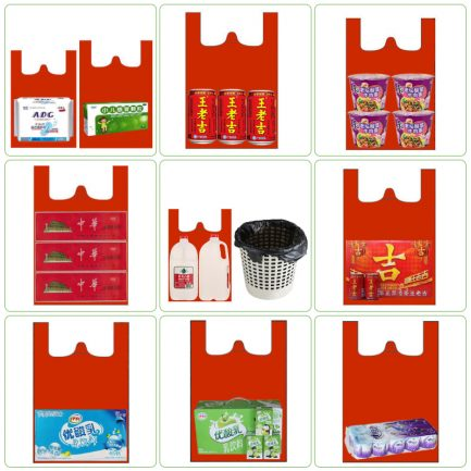 Red Plastic Shopping Vest Poly Bags