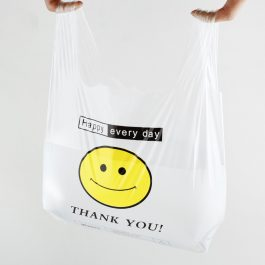White Plastic Bags Carry Out Shopping Bags Smiley Smiling Smile Face Polybags