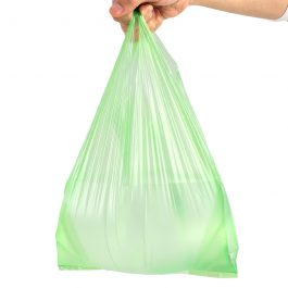 Green Plastic Bags Vest Polybag Fruit Vegetable Shopping Bag Take Out Bags
