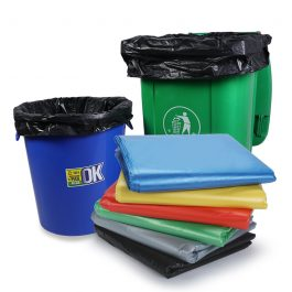 Trash Bags Blue Black Red Green Yellow Gray Heavy Duty Garbage Can Liners (50 Count)