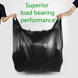 Black Big Vest Style Plastic Bags Carrier Poly Bags