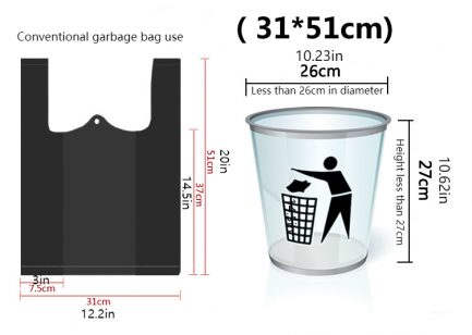 Trash Bags Black Vest Plastic Bag Indoor Garbage Can Liners Polybags